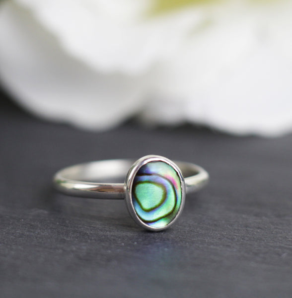 Silver Paua Shell Ring, Silver Abalone Ring