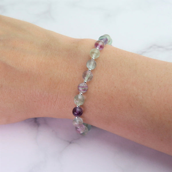Green and purple fluorite bracelet worn on the wrist to show the size.  Beads are 6mm in diameter.