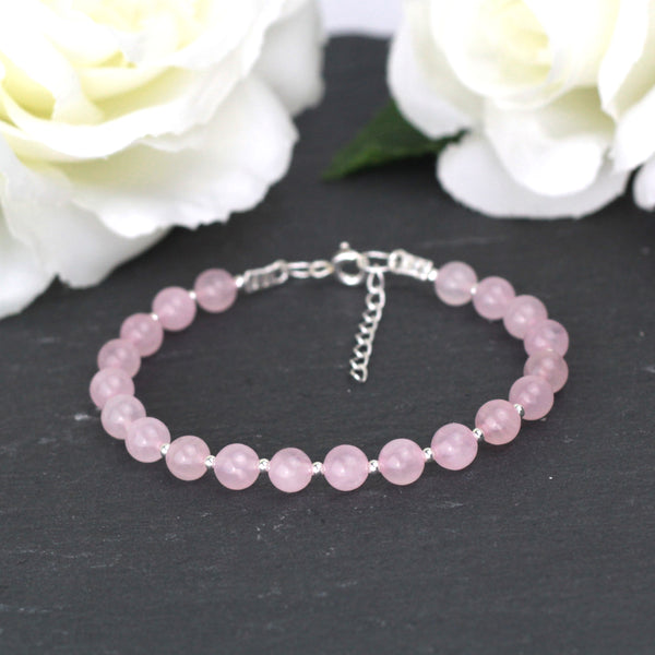 Pink Rose Quartz and Silver Bracelet
