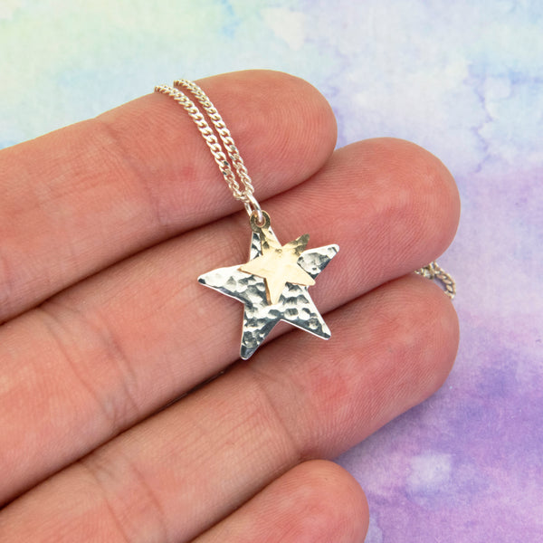 Gold and Silver Star Necklace