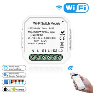 [variant_title] - Wifi Smart Light Switch Diy Breaker Module Smart Life/Tuya APP Remote Control Works with Alexa Echo Google Home 1/2 Way