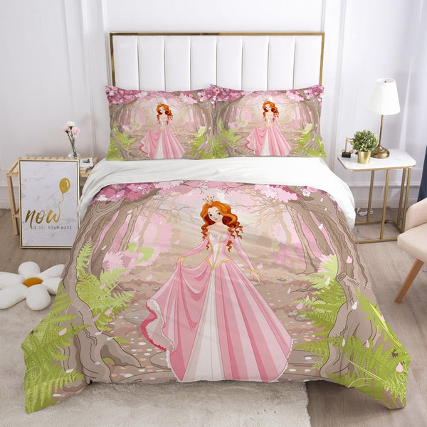 Cartoon Bedding Set for Kids Baby Crib Children Duvet Cover Set Single Size Pillowcase Blanket Quilt Cover Princess and unicorn