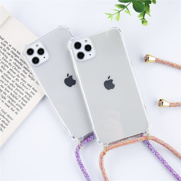 Strap Cord Chain Phone Tape Necklace Lanyard Mobile Phone Case for Carry Cover Case Hang iPhone 11 Pro XS Max XR X 6 6S 7 8Plus