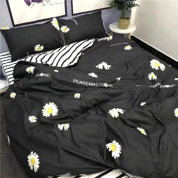 4Pcs/Set Cartoon Warm Bedding Sets Geometric Pattern Bed Linings 4 sizes Grey Blue Duvet Cover Bed Sheet Pillowcases Cover Sets