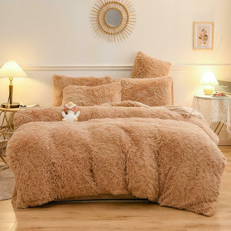 Luxury Plush Shaggy Fleece Faux Fur Duvet Cover Sheet Pillowcases King Bedding Set New Comforter Bedding Sets Queen Bed Sheet