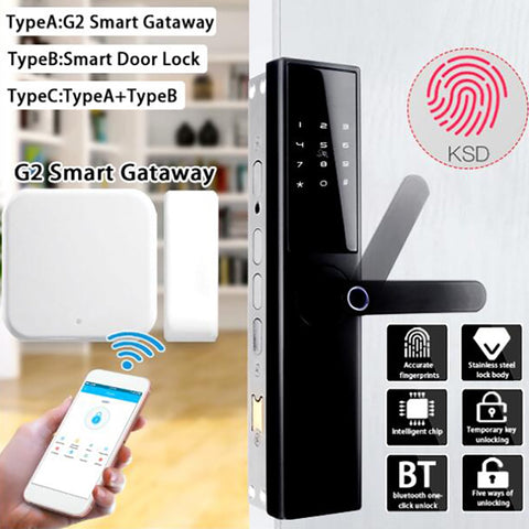 [variant_title] - Intelligent Electronic Door Lock Smart Door Lock Fingerprint With bluetooth Card APP Key Unlocking 5 Ways +G2 Smart Gateway