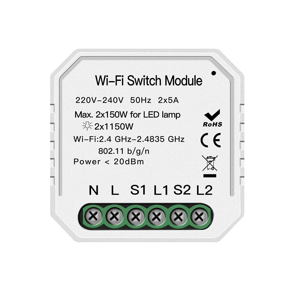1 - Wifi Smart Light Switch Diy Breaker Module Smart Life/Tuya APP Remote Control Works with Alexa Echo Google Home 1/2 Way