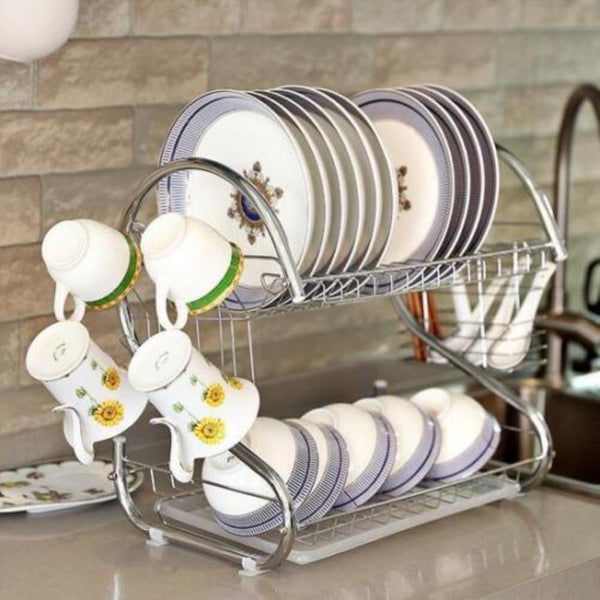 [variant_title] - AsyPets Large Capacity Stainless Steel 2-Layer Dish Drainer Drying Rack for Kitchen Storage