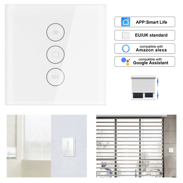 Default Title - App EU wifi tuya smart touch curtain switch voice control by Alexa echo Google  phone control For Electric curtain motor