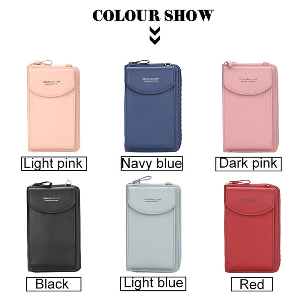 [variant_title] - Fashion Women Crossbody Wallet PU Leather Lady Clutch Bag Multifunction Zipper Coin Purse Solid Color Shoulder Bags Clutch Bag