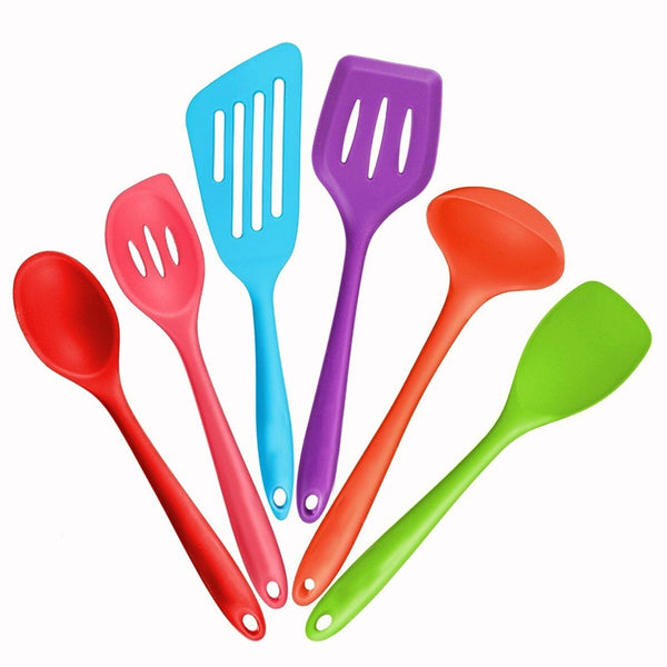 [variant_title] - Kitchen Silicone Non-stick Cooking Spoon Spatula Ladle Egg Beaters Utensils Dinnerware Set Cooking Tools Accessories Supplies