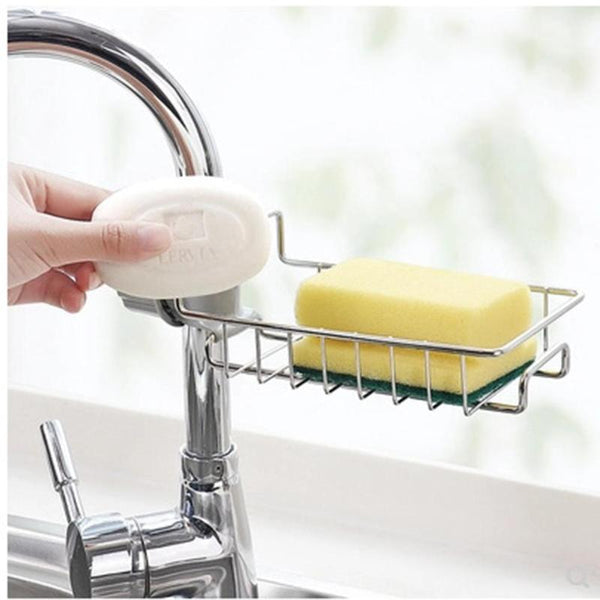 [variant_title] - Stainless Steel Hot Sink Hanging Storage Rack Holder Faucet Clip Bathroom Kitchen Dishcloth Clip Shelf Drain Dry Towel Organizer