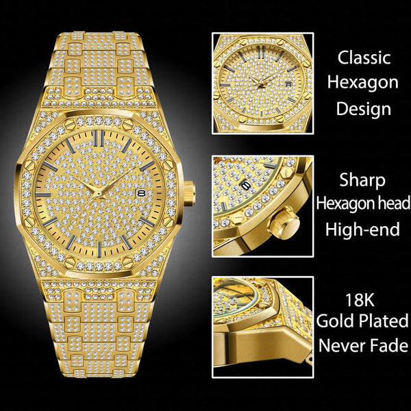 [variant_title] - 18K Gold Watch Men Luxury Brand Diamond Mens Watches Top Brand Luxury FF Iced Out Male Quartz Watch Calender Unique Gift For Men