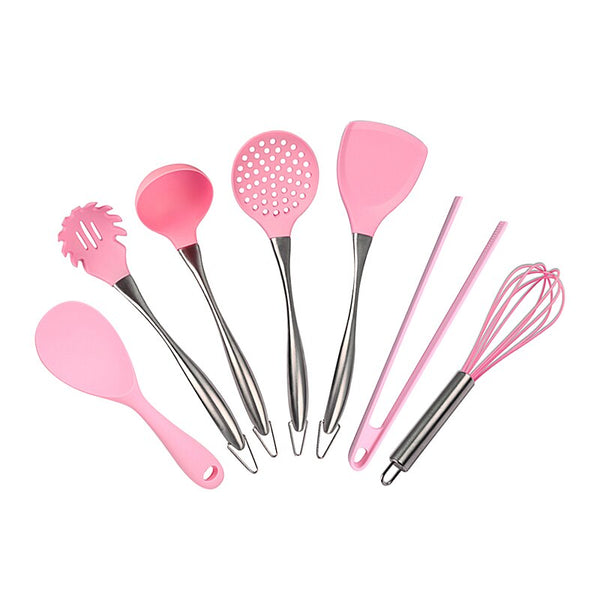 [variant_title] - Pink Silicone Cooking Tools Stainless Steel Handle Kitchenware Dinnerware Tableware Heat Resistant Kitchen Utensils Accessories