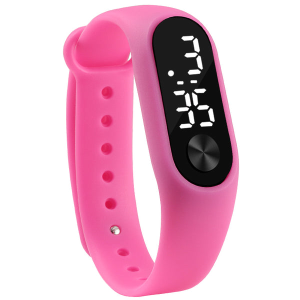rose red - Fashion Men Women Casual Sports Bracelet Watches White LED Electronic Digital Candy Color Silicone Wrist Watch for Children Kids