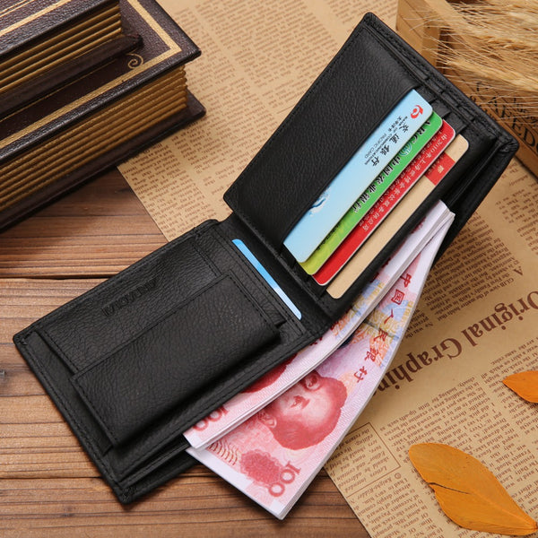 [variant_title] - Luxury 100% Genuine Leather Wallet Fashion Short Bifold Men Wallet Casual Soild Men Wallets With Coin Pocket Purses Male Wallets