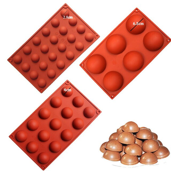 [variant_title] - 3size Hemispheres Shape Silicone Mold for Chocolate Candy Ice Cube Maker Molds for Baking Biscuit Cake Tools Candy Mold