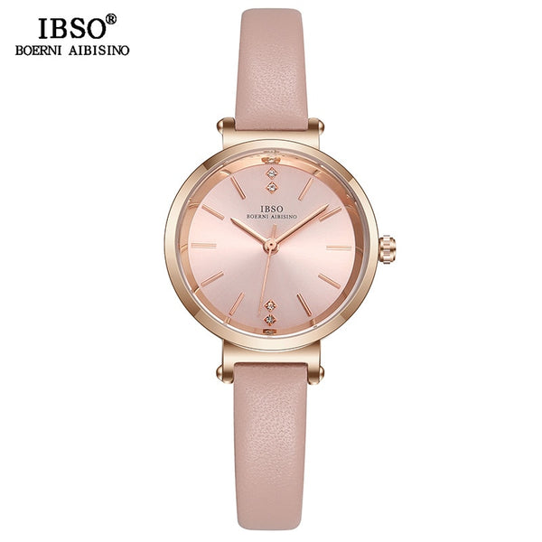 Pink - IBSO 8 MM Ultra-Thin Wrist Women Watches Luxury Female Clock Fashion Montre Femme 2019 Quartz Ladies Watch Relogio Feminino