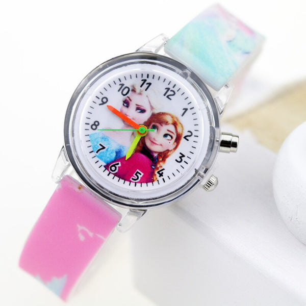 Girl Pink Flash - Princess Elsa Children Watches Spiderman Colorful Light Source Boys Watch Girls Kids Party Gift Clock Wrist Relogio Feminino