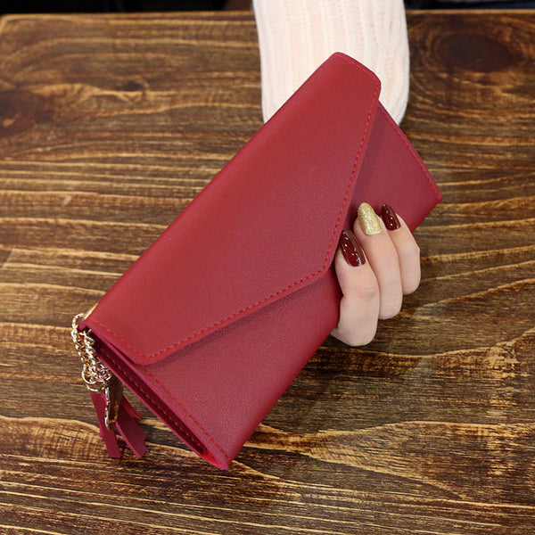 Red - Long Wallet Women Purses Tassel Fashion Coin Purse Card Holder Wallets Female High Quality Clutch Money Bag PU Leather Wallet