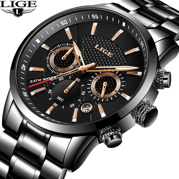 [variant_title] - LIGE 2018 Watch Men Fashion Sport Quartz Clock Mens Watches Brand Luxury Full Steel Business Waterproof Watch Relogio Masculino