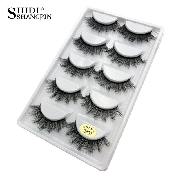 G802 - 5 pairs false eyelashes natural 3D mink lashes makeup eyelash extension long mink eyelashes volume fake eye lashes cilio russian