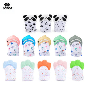 [variant_title] - LOFCA 1PC Dolphin Panda baby teething Glove Pacifier Glove Teether  Mitten Wrapper Sound Teething Chewable bead Newborn Toddler