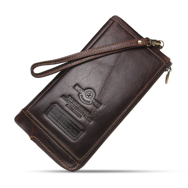 Coffee - 2019 Men Wallet Clutch Genuine Leather Brand Rfid  Wallet Male Organizer Cell Phone Clutch Bag Long Coin Purse Free Engrave