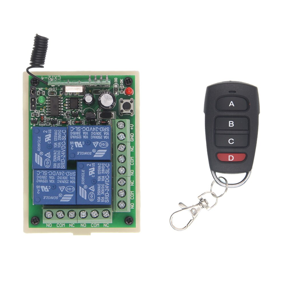 1 / 12V / 315 MHz - DC 12V 24V 4 Channel 4CH RF Wireless Remote Control Switch System Receiver + Transmitter, 315 433 MHz