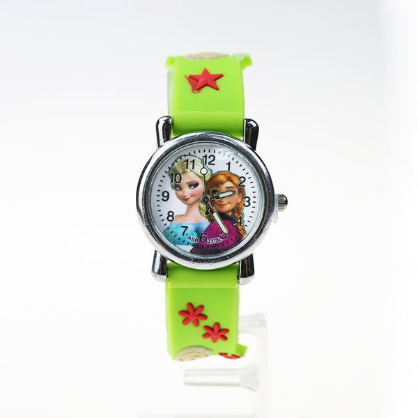 XJ Green - Princess Elsa Children Watches Electronic Colorful Light Source Child Watch Girls Birthday Party Kids Gift Clock Childrens Wrist