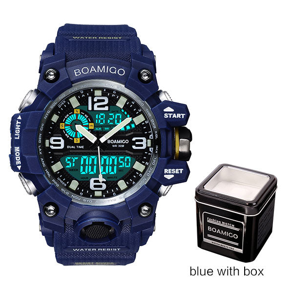 blue with box - Men Sports Watches BOAMIGO Brand Digital LED Orange Shock Swim Quartz Rubber Wristwatches Waterproof Clock Relogio Masculino
