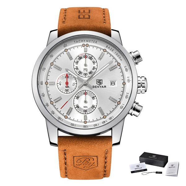 L Brown silver white - BENYAR Fashion Chronograph Sport Mens Watches Top Brand Luxury Quartz Watch Reloj Hombre saat Clock Male hour relogio Masculino
