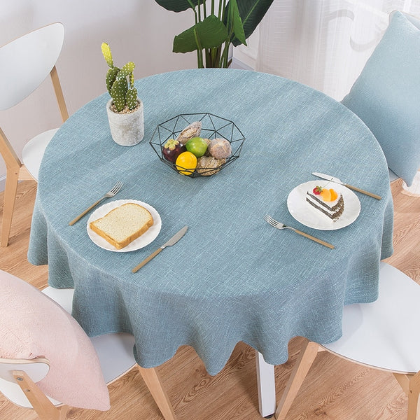 03 / 100cm round - Proud Rose Cotton Linen Table Cloth Round Wedding Party Table Cover Nordic Tea Coffee Tablecloths Home Kitchen Decor