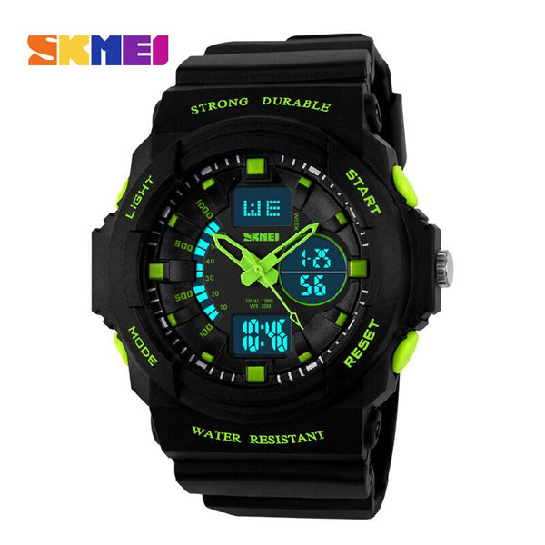 Green - SKMEI Shock Resistant Watches Waterproof Men Women Kids Outdoor Sport Timing Watch Multifunction Children Fashion Wristwatches