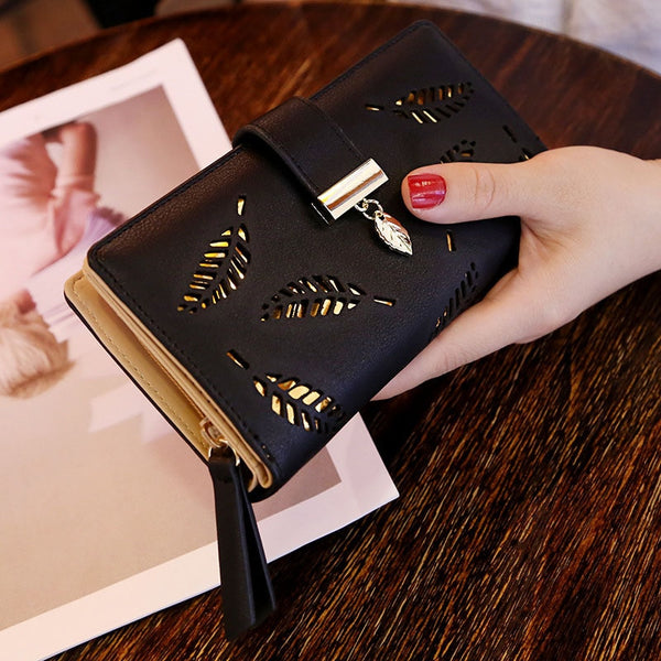 B Black - Mara's Dream 2019 Brand Leaves Hollow Women Wallet Soft PU Leather Women's Clutch Wallet Female Designer Wallets Coin Card Purse