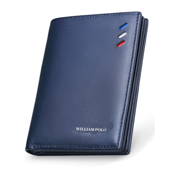 blue - WilliamPOLO 100% Genuine Leather Men Wallets Men Wallet   Male Purse Short Wallet Money Clip Purses Leather Purse Wallets