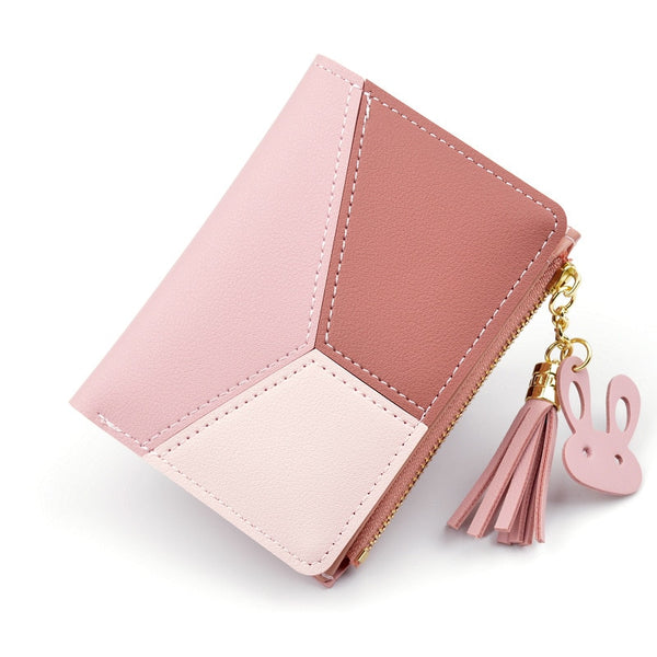 [variant_title] - New Arrival Wallet Short Women Wallets Zipper Purse Patchwork Fashion Panelled Wallets Trendy Coin Purse Card Holder Leather
