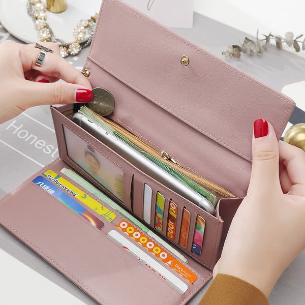 [variant_title] - New Fashion Women Wallets Long Style Multi-functional wallet Purse Fresh PU leather Female Clutch Card Holder