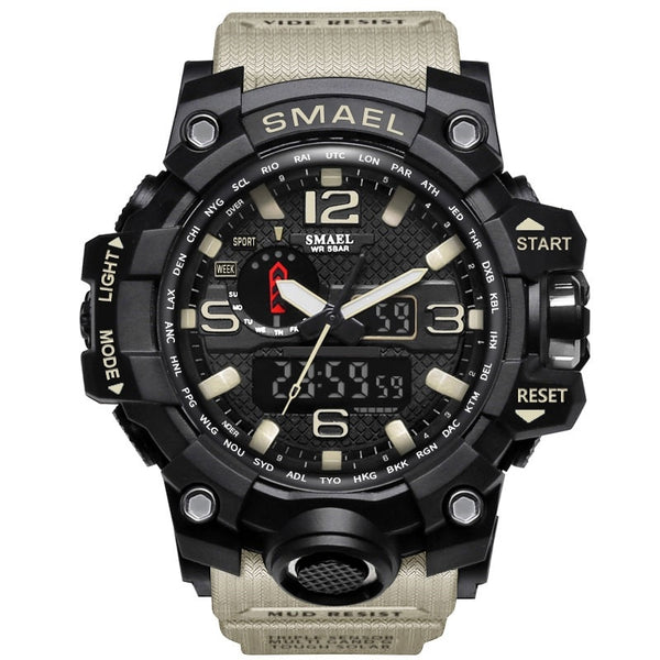 1545 Khaki - SMAEL Brand Men Sports Watches Dual Display Analog Digital LED Electronic Quartz Wristwatches Waterproof Swimming Military Watch