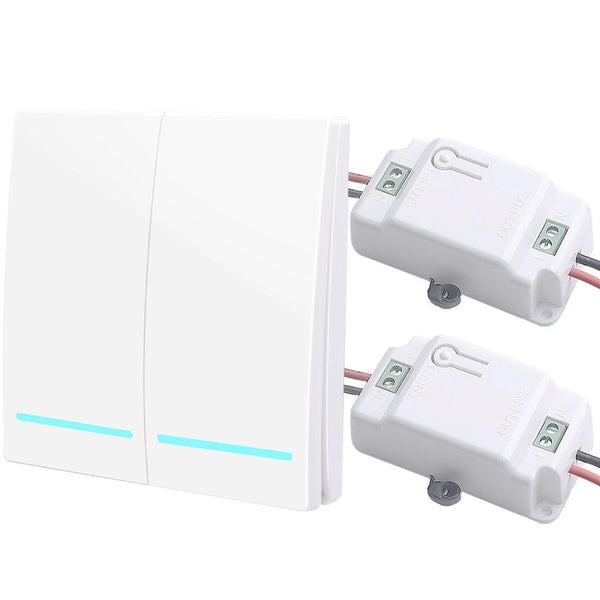 2 gang 2 Receiver W - SMATRUL 433Mhz Wireless smart Light Switch RF Remote Control 1000W 50M AC 110V 220V Receiver Wall Panel push button Bedroom Lamp