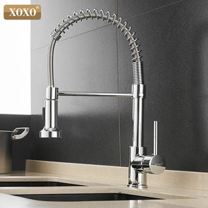 1343A-C - XOXO Kitchen Faucet Pull Out Cold and Hot Brushed Nickel Torneira  Rotate Swivel 2-Function Water Outlet Mixer Tap 1343A-S