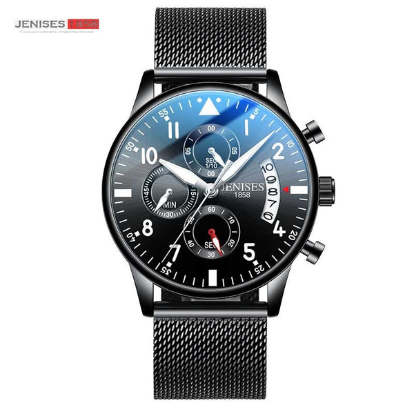 Coffee - JENISES Men Watch Top Brand Luxury Quartz Watch Men Fashion Military Waterproof Chronograph Sport Watches Saat Relogio Masculino