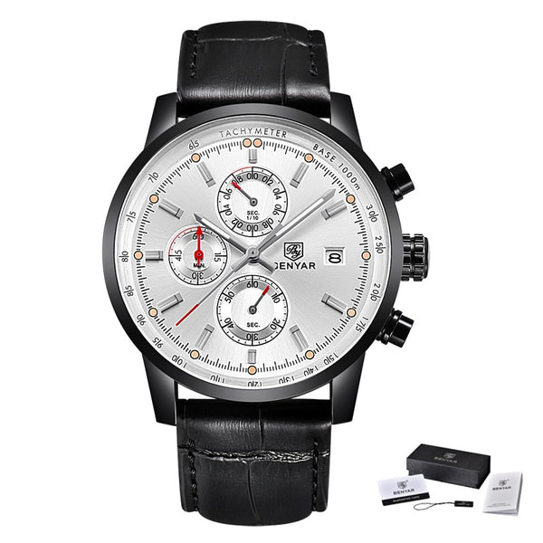 L Black Black White - BENYAR Fashion Chronograph Sport Mens Watches Top Brand Luxury Quartz Watch Reloj Hombre saat Clock Male hour relogio Masculino