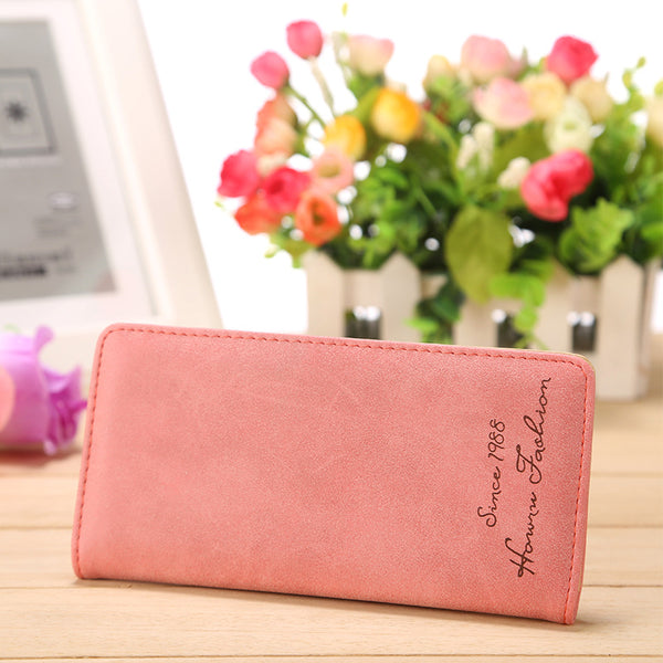 Pink - Minimalist Designer Slim Long Bifold Women Wallet Female Clutch Leather Brand Coin Purse Ladies Card Holder Money Dollar Cuzdan