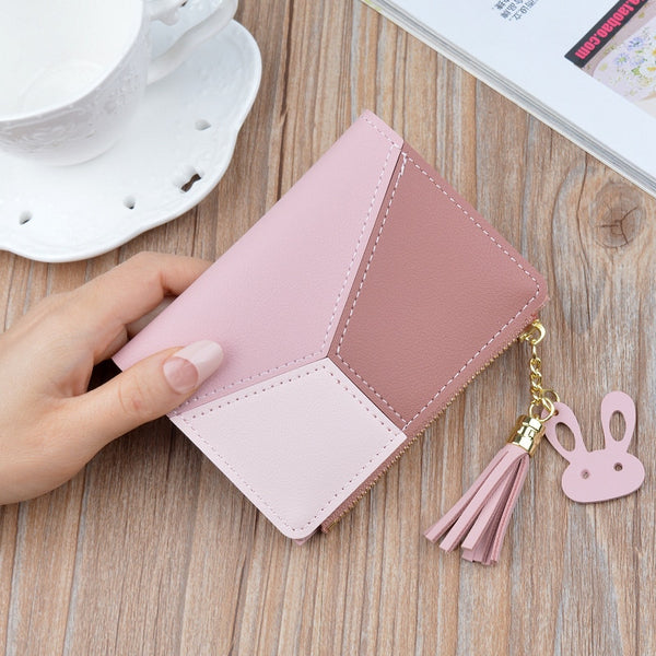 Pink - New Arrival Wallet Short Women Wallets Zipper Purse Patchwork Fashion Panelled Wallets Trendy Coin Purse Card Holder Leather