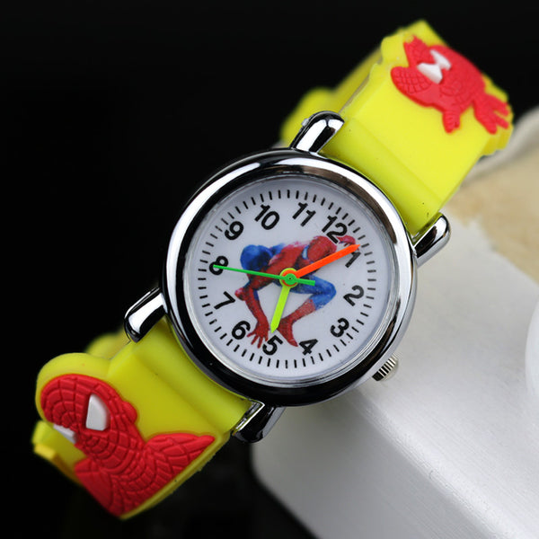 Yellow no Flashlight - 2019 Spiderman Children Watches Cartoon Electronic Colorful Light Source Child Watch Boys Birthday Party Kids Gift Clock Wrist