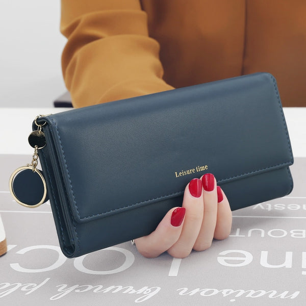 Blue - New Fashion Women Wallets Long Style Multi-functional wallet Purse Fresh PU leather Female Clutch Card Holder