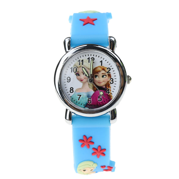 XJ sky blue - Princess Elsa Children Watches Electronic Colorful Light Source Child Watch Girls Birthday Party Kids Gift Clock Childrens Wrist