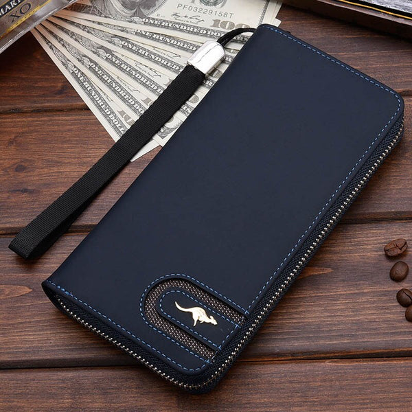 Blue A - New Men Leather Wallet High Quality Zipper Wallets Men Long Purse Male Clutch Phone Bag Wristlet Coin Purse Card Holder MWS184