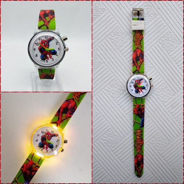 Green - Flashing light Spiderman children watch high quality kids watches child luminous boys girls clock printing silicone belt table